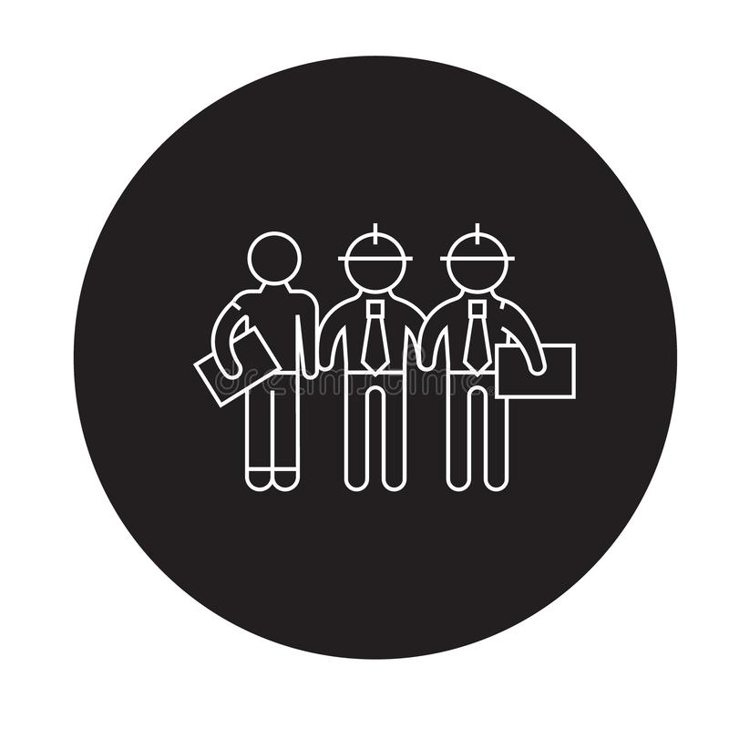 Building engineers black vector concept icon. building engineers flat illustration, sign. Symbol stock illustration