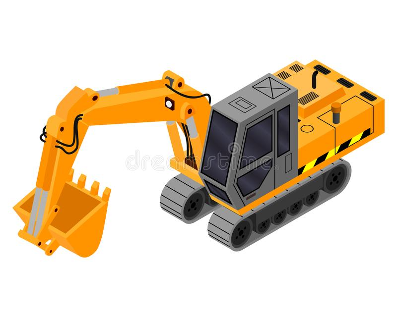 Building excavator 3D. Construction engineering royalty free illustration