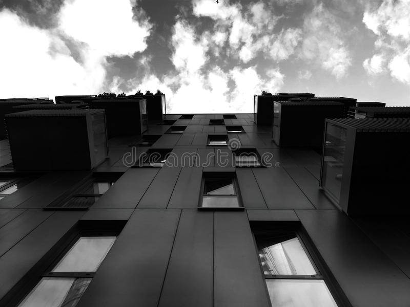 Building exterior in black and white stock image