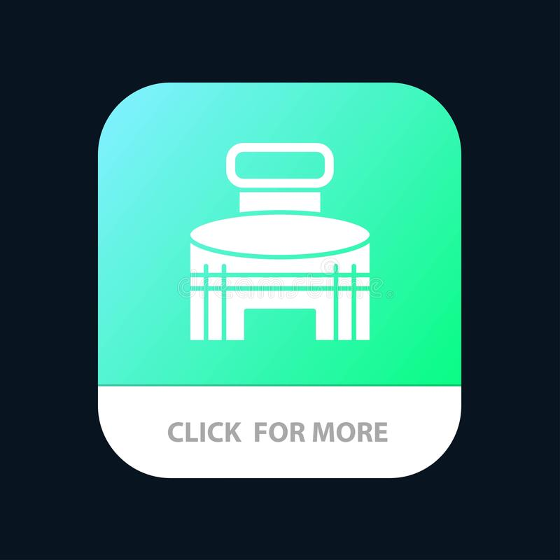 Building, Exterior, Game, Sport, Stadium Mobile App Button. Android and IOS Glyph Version royalty free illustration