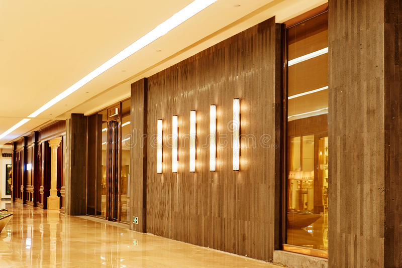 Building exterior wall. Led lights decorated on building exterior wall stock photo