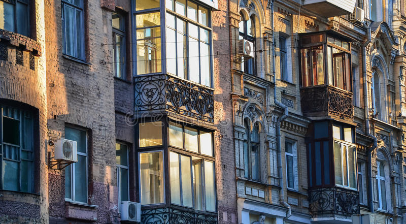 Building exterior with windows and balconies royalty free stock photo