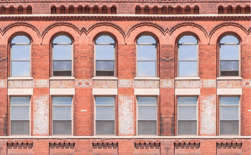 Building exterior with windows. Of a commercial office building stock photo