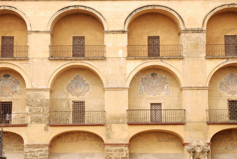Building facade in Cordova. Arched building facade in Cordova, Spain stock images