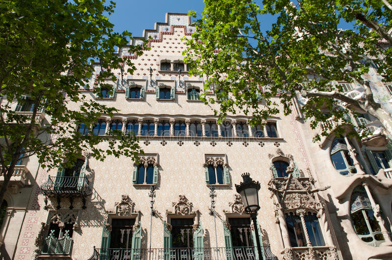 Building facade in gothic architecture style, Barcelona, Spain royalty free stock images