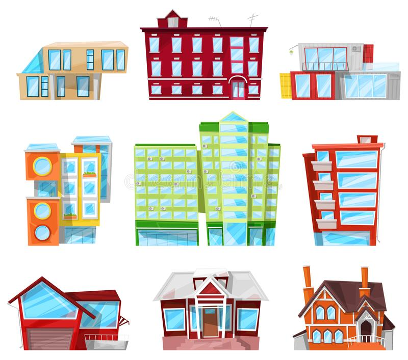 Building facade of house in cityscape vector officebuilding or apartments architectural construction of city bank or. Hotel and business newbuild set stock illustration
