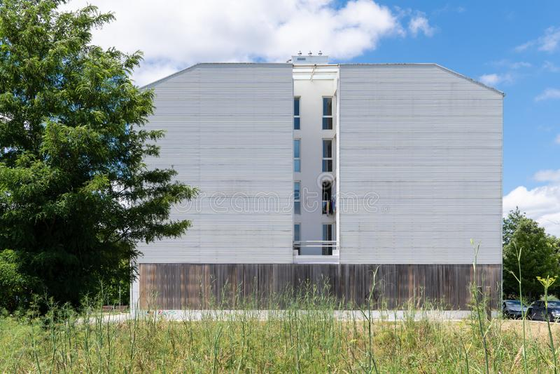 Building facade with metallic cladding royalty free stock photo