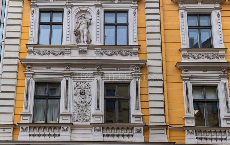 The building facade ,Riga, Latvia. This building is an example of Art Nouveau architectural style. The building facade in Riga,capital of Latvia. This building stock images
