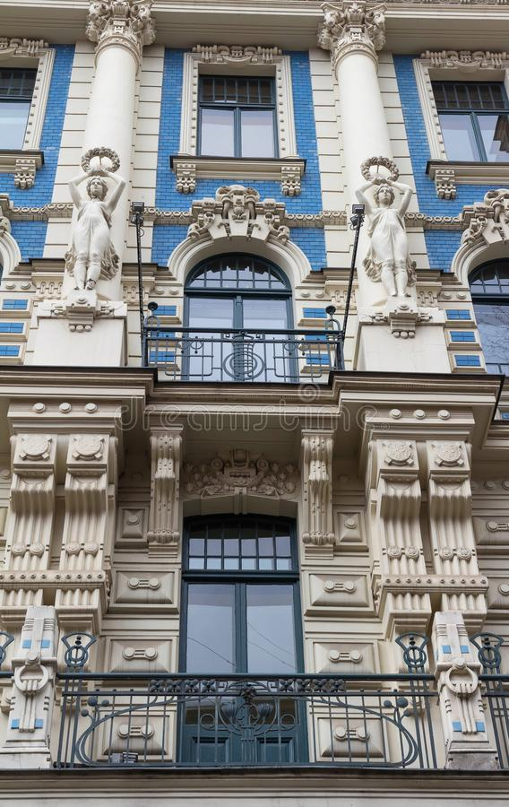 The building facade ,Riga, Latvia. This building is an example of Art Nouveau architectural style. The building facade, Riga, Latvia. Latvian capital is the city royalty free stock photos
