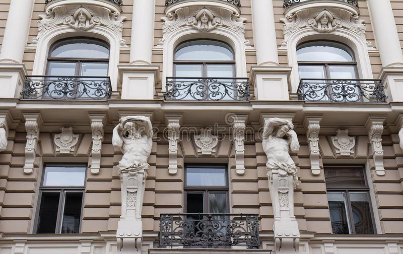The building facade ,Riga, Latvia. This building is an example of Art Nouveau architectural style. The building facade, Riga, Latvia. Latvian capital is the city stock photo