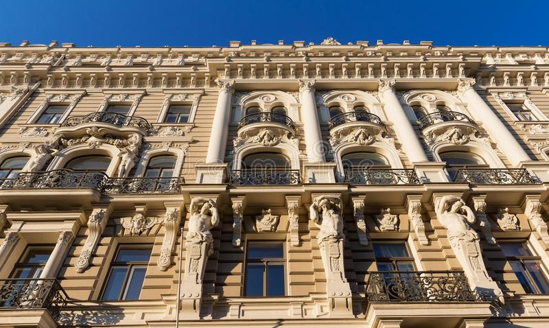 The building facade ,Riga, Latvia. This building is an example of Art Nouveau architectural style stock photo