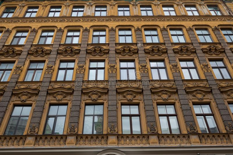 The building facade ,Riga, Latvia. This building is an example of Art Nouveau architectural style. The building facade, Riga, Latvia. Latvian capital is the city royalty free stock photography