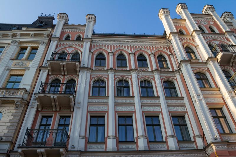 The building facade ,Riga, Latvia. This building is an example of Art Nouveau architectural style royalty free stock photo
