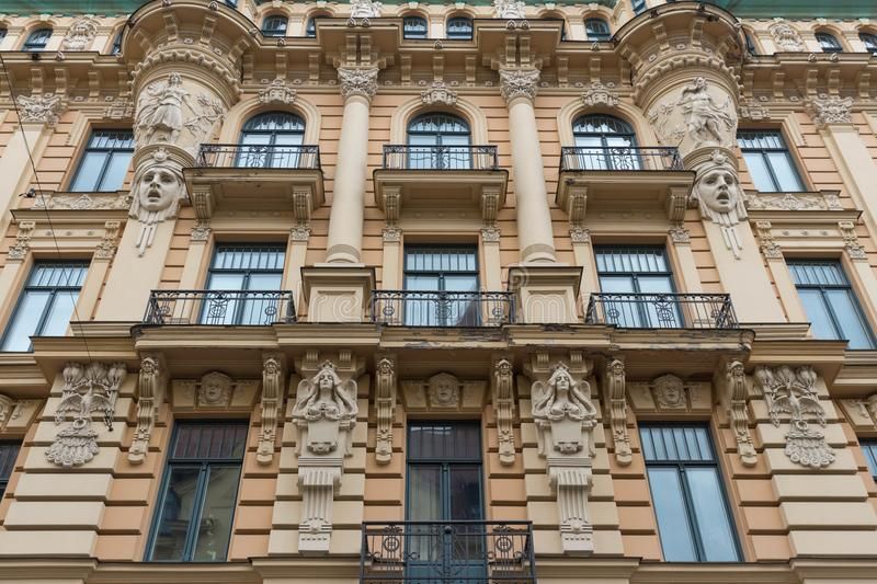 The building facade ,Riga, Latvia. This building is an example of Art Nouveau architectural style stock photos