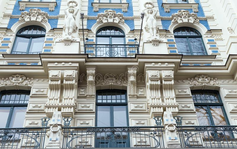 The building facade ,Riga, Latvia. This building is an example of Art Nouveau architectural style. The building facade, Riga, Latvia. Latvian capital is the city stock image