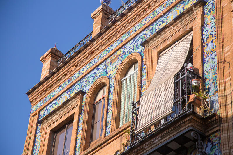 Building facade at Triana, Seville royalty free stock photography