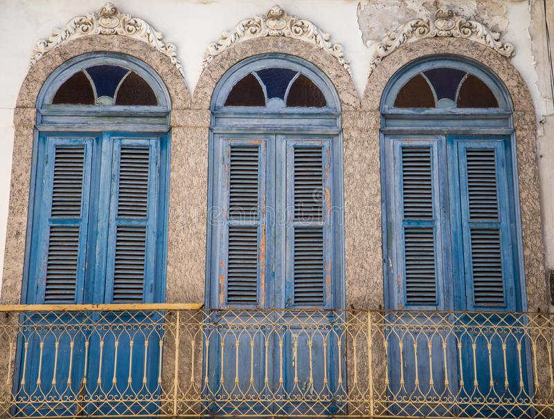 Building facade of downtown Rio de Janeiro. Building facade and windows of old buildings at Rio de Janeiro royalty free stock images