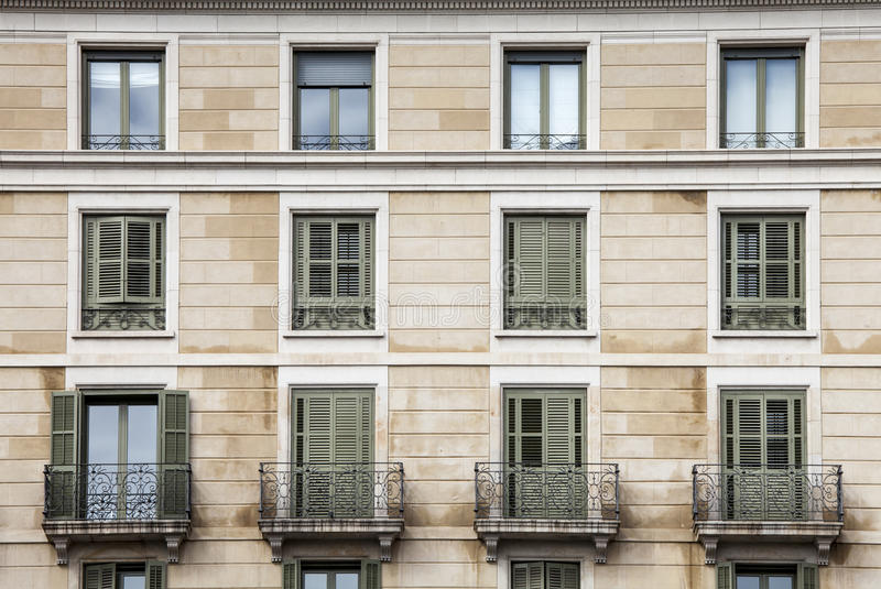 Building facade, 12 windows. Twentieth-century style. stock photos