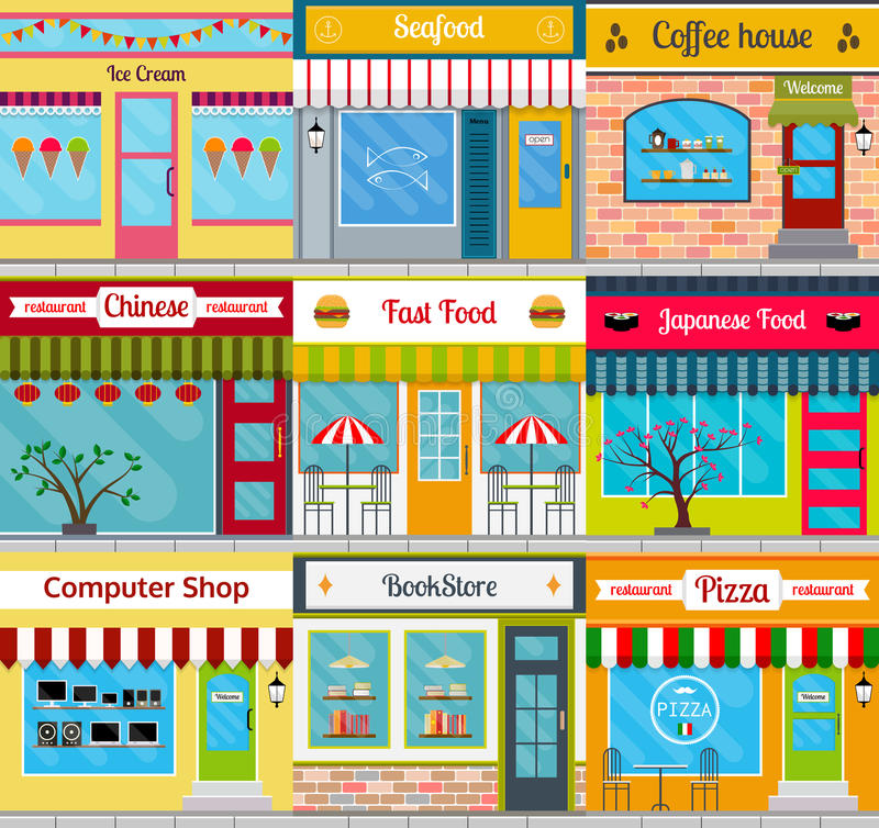Building facades set. Set of different store fronts in flat style. Vector illustration of city public buildings. Collection of small business buildings facades stock illustration