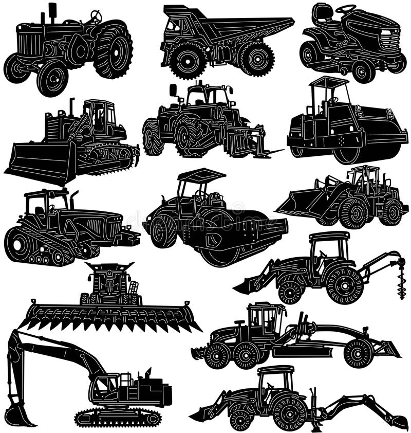 Farm and construction machines and vehicles stock illustration
