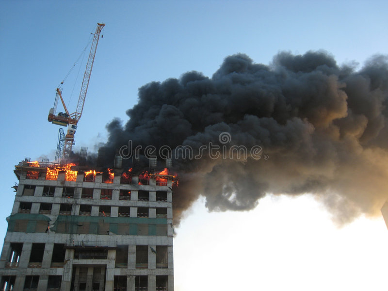 Building on fire royalty free stock image