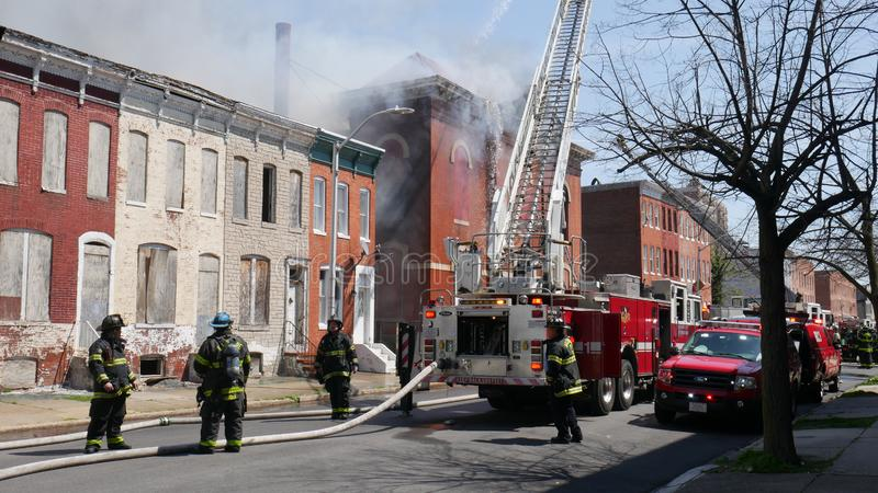Building fire, Public School 103, 1315 Division Street, Baltimore, MD 21217 stock images