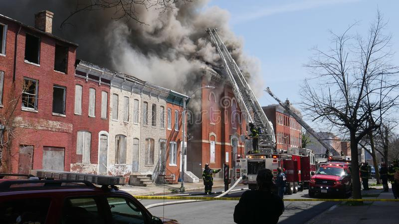 Building fire, Public School 103, 1315 Division Street, Baltimore, MD 21217 stock photography