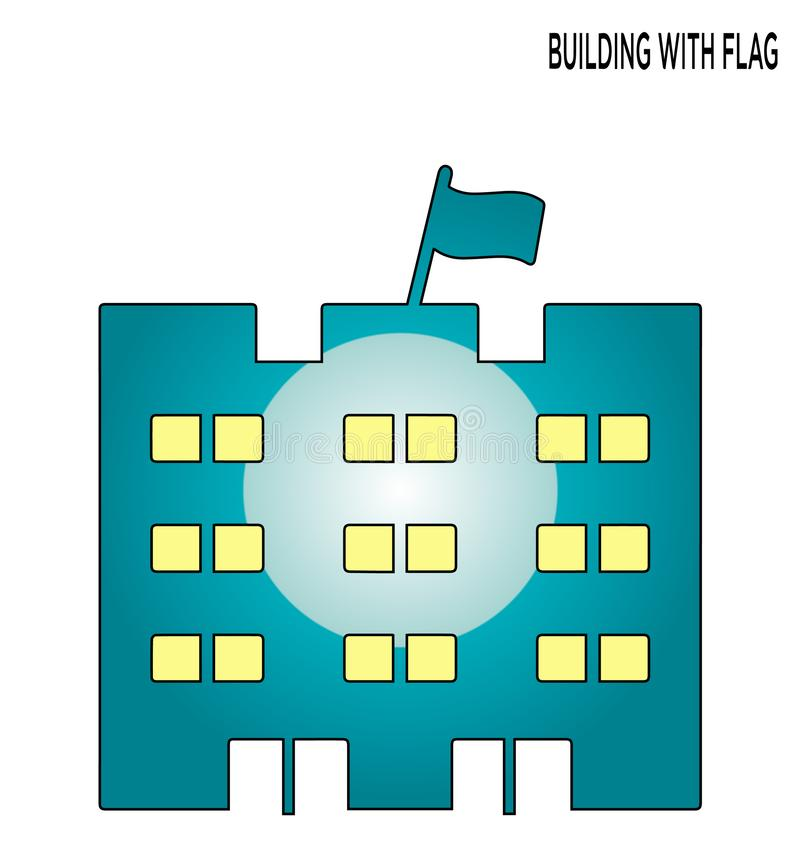 Building flag editable icon symbol design. Expand to any size, Change to any color royalty free illustration