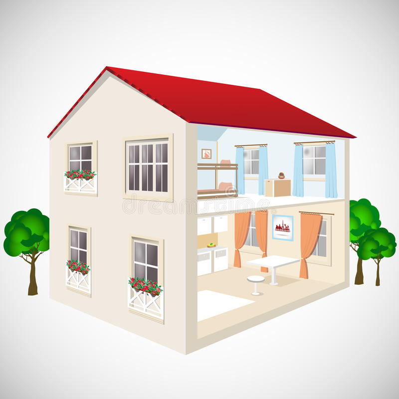 Building flat 3d web isometric concept vector. Exterior and interior isometry rooms. House in cut. stock illustration