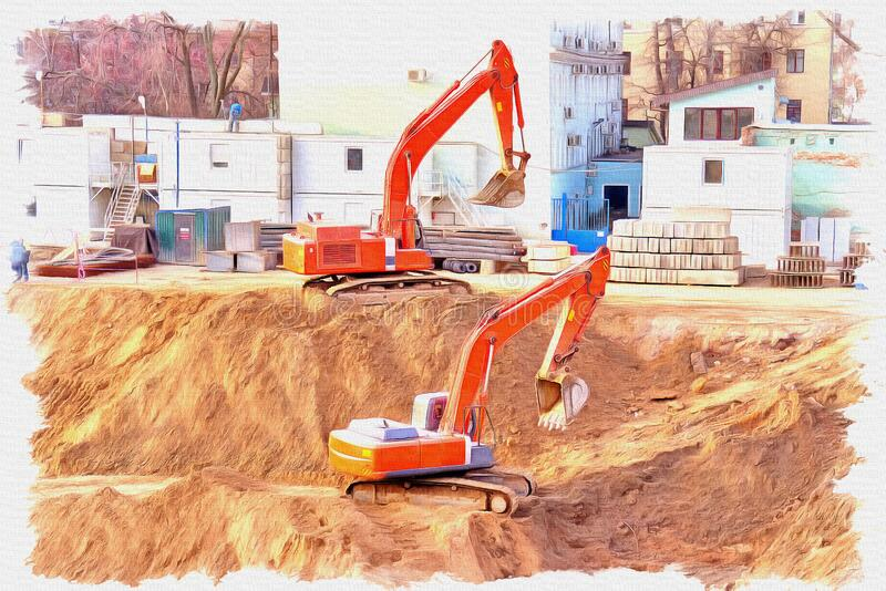 Building foundation pit. Imitation of a picture. Oil paint. Illustration royalty free stock photo
