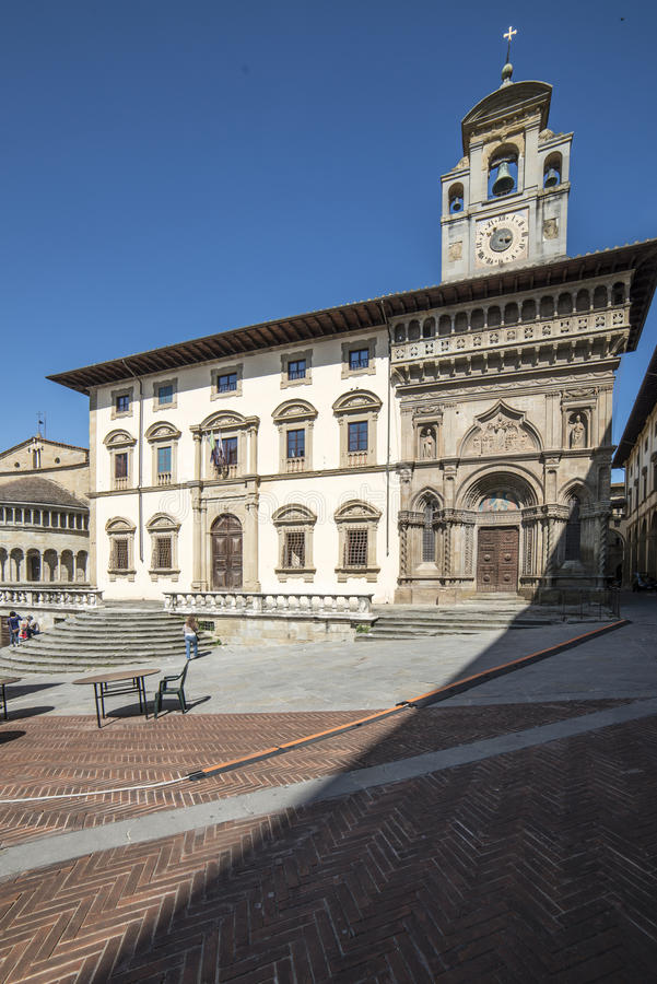 Building of the fraternity arezzo tuscany italy europe. Vertical view of the building of the fraternity situated in the square vasari stock photo