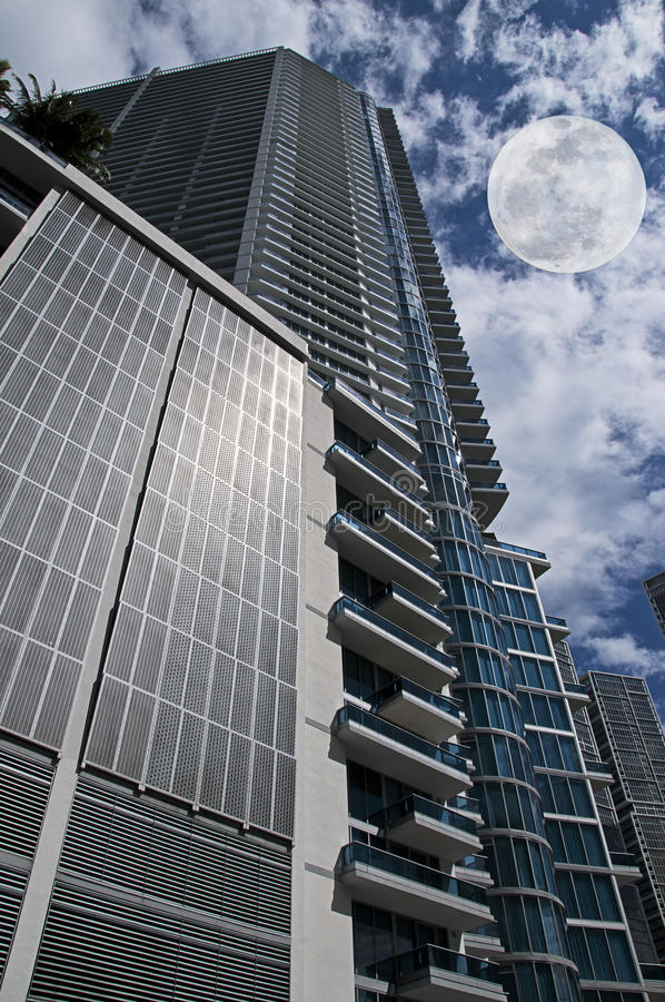 Building and full moon stock photography