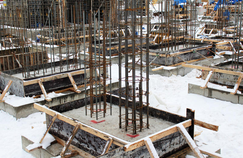 Building of Fundament with Fixtures. In Winter Time stock photo