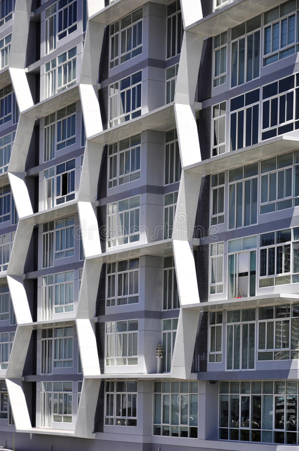 Post modern building facade. Building from the future featuring hive cube windows stock image