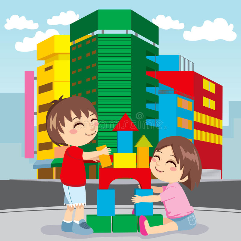 Building Future City. Two children play construction game building the future growth of their city