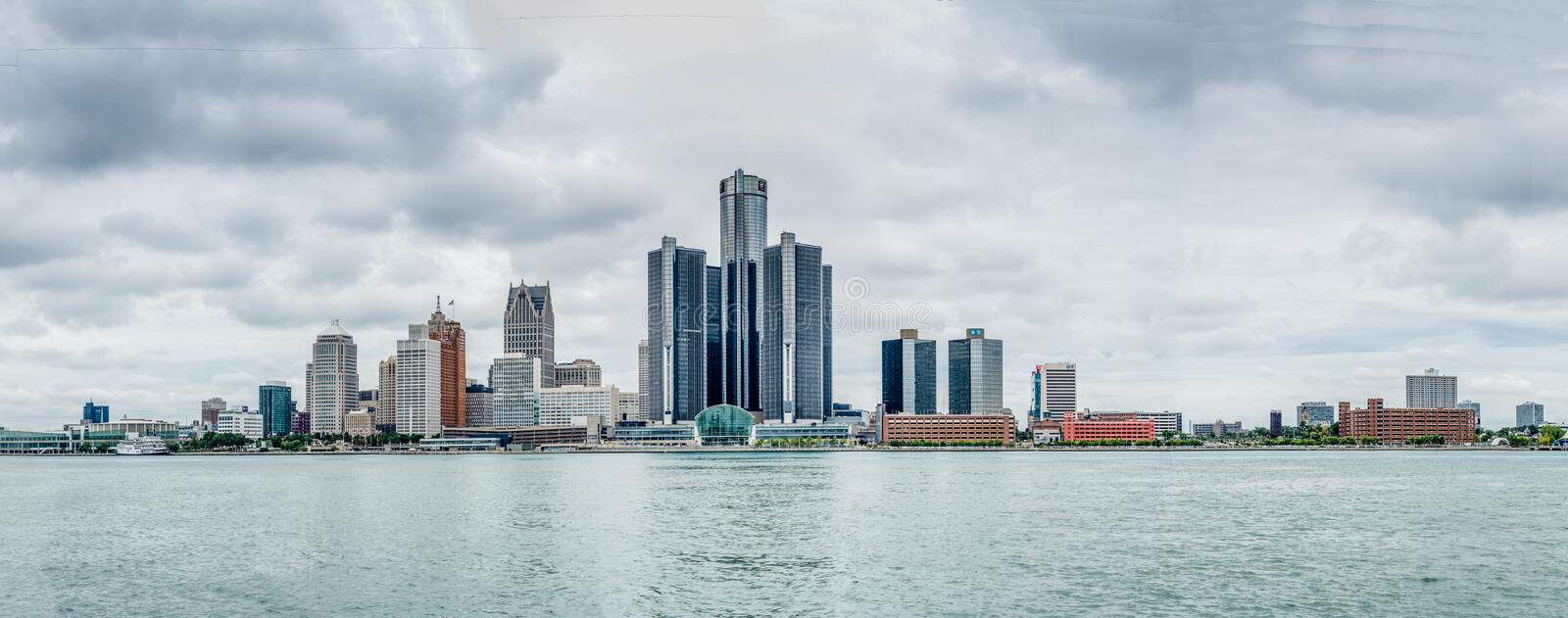 Building of General Motors near river Detroit stock images