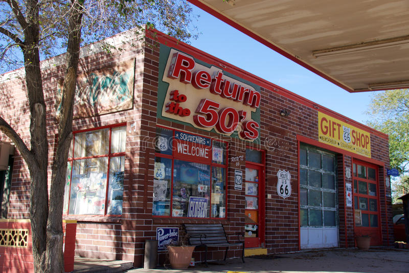 Building of a gift shop stock images