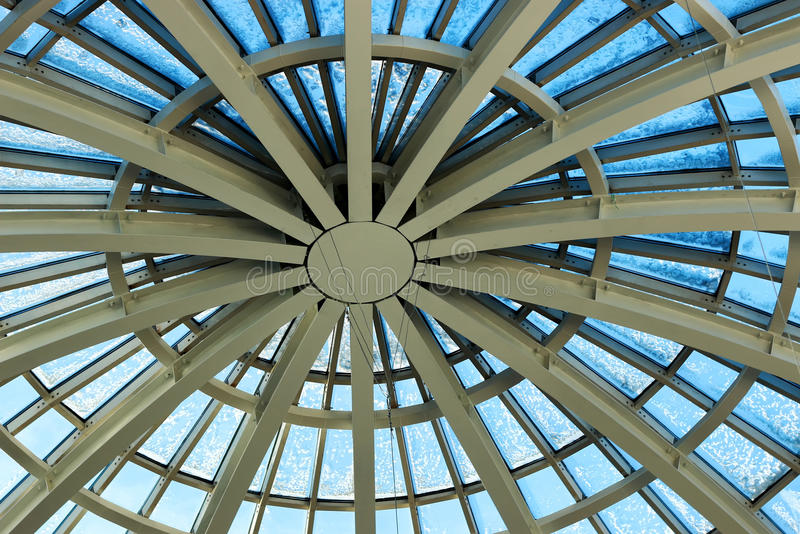 Building glass construction roof. Background dome shopping center metal combinations and glass modern building royalty free stock image