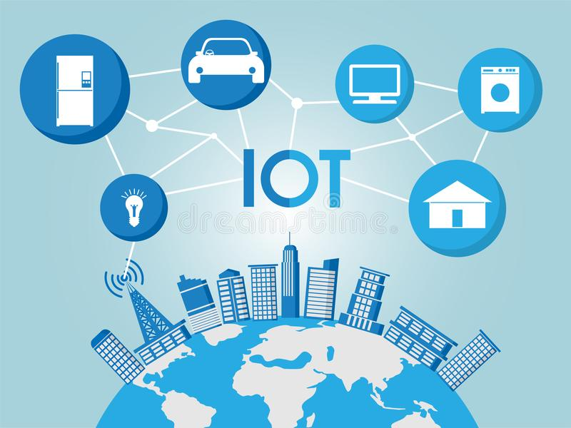 Building on global ground with various things icon, iot and smart city network concept, and illustration stock illustration