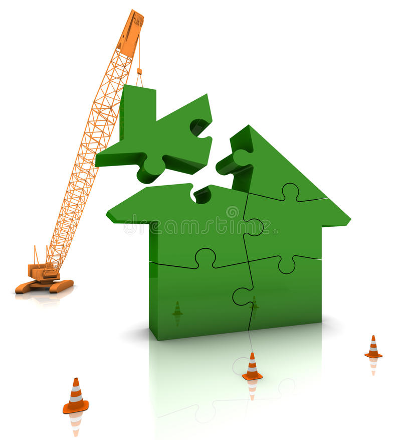 Building a Green Home stock illustration