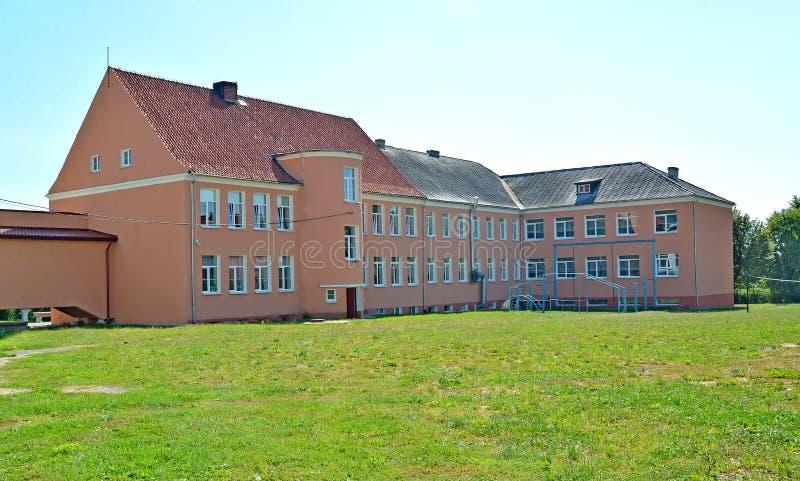 Building of high comprehensive school of the German construction. Zheleznodorozhny, Kaliningrad region.  stock photo