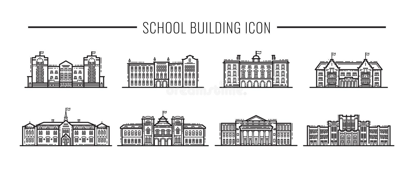 Building high school of the American or European, Asia line art vector icons vector illustration