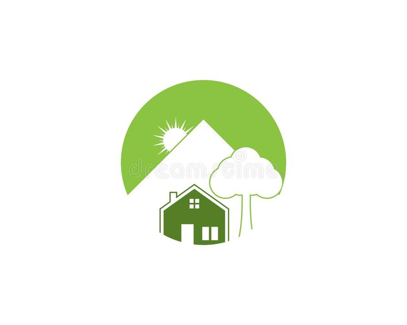 Building home nature icon vector illustration. Tree, house, design, green, concept, graphic, symbol, ecology, architecture, flat, residential, environment royalty free illustration