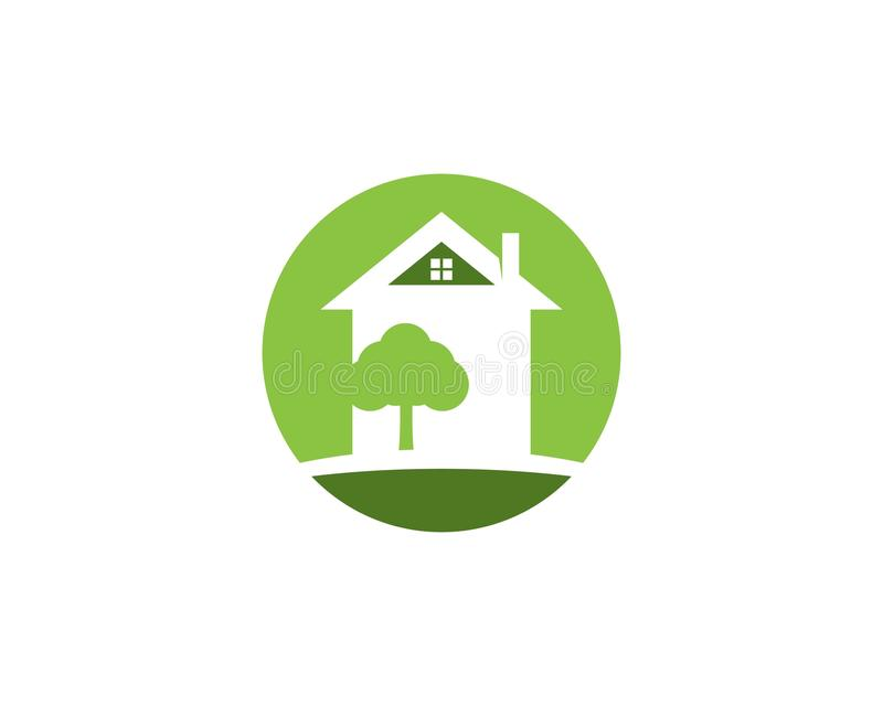 Building home nature icon vector illustration. Tree, house, design, green, concept, graphic, symbol, ecology, architecture, flat, residential, environment vector illustration