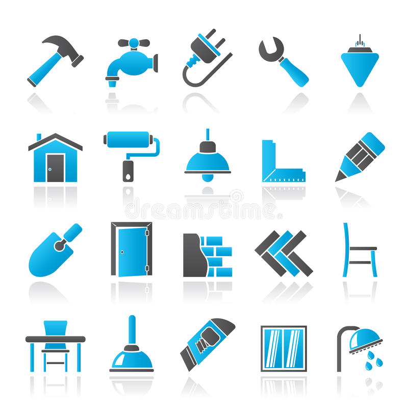 Building and home renovation icons. Vector icon set royalty free illustration
