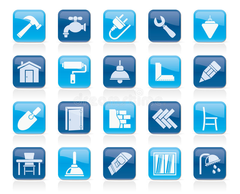 Building and home renovation icons. Vector icon set stock illustration