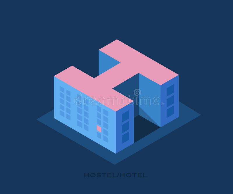 Conceptual vector logo of the Hostel.Illustration in a minimalist style,building of a hostel or hotel in the form of a letter H. Building of a hostel or hotel stock illustration