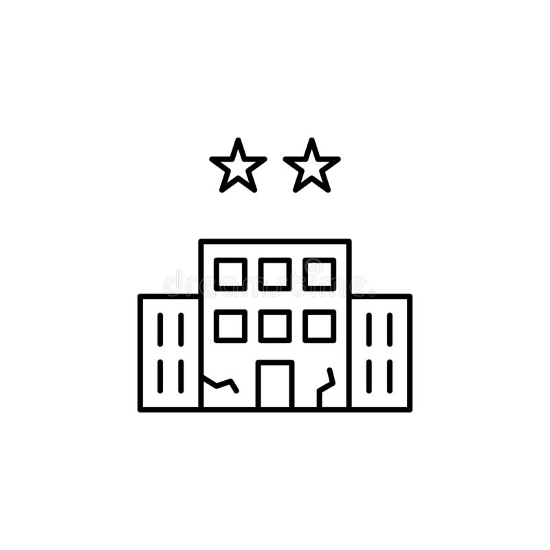 building, hotel, two, stars icon. Simple thin line, outline vector of Hotel Service icons for UI and UX, website or mobile vector illustration