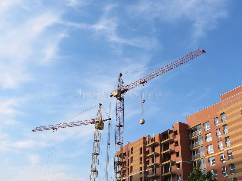 Building house. And crane in Klaipeda, Lithuania royalty free stock photography