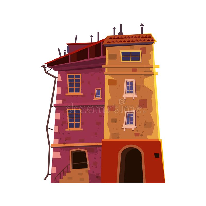 Building house, historic, old architecture, city, urban business, restaurant inside the private building concept. Vector vector illustration